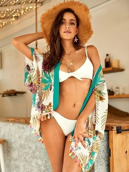 Picture of Tropical Print Tasseled Hem Kimono