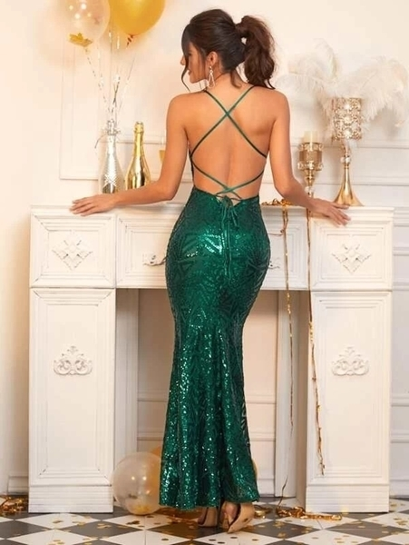 Picture of Lace Up Backless Fishtail Hem Sequin Dress