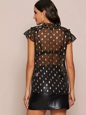 Picture of Frilled Neck Gold Dot Print Sheer Top