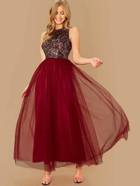 Picture of Sequin Bodice Tulle Maxi Prom Dress