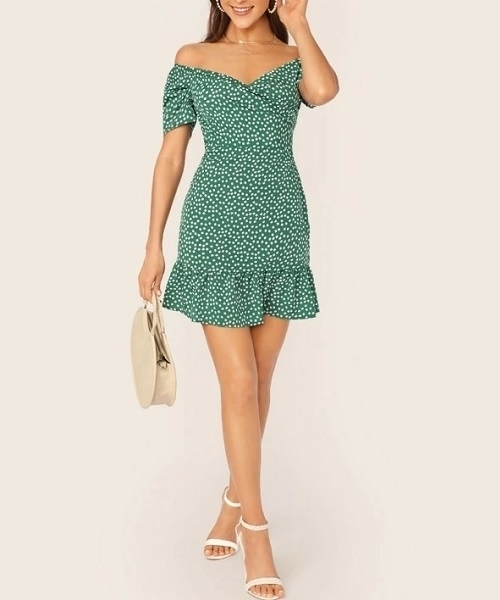 Picture of Off Shoulder Wrap Front Ruffle Hem Ditsy Floral Dress