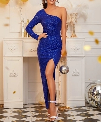 Picture of One Shoulder Split Thigh Sequin Evening Dress