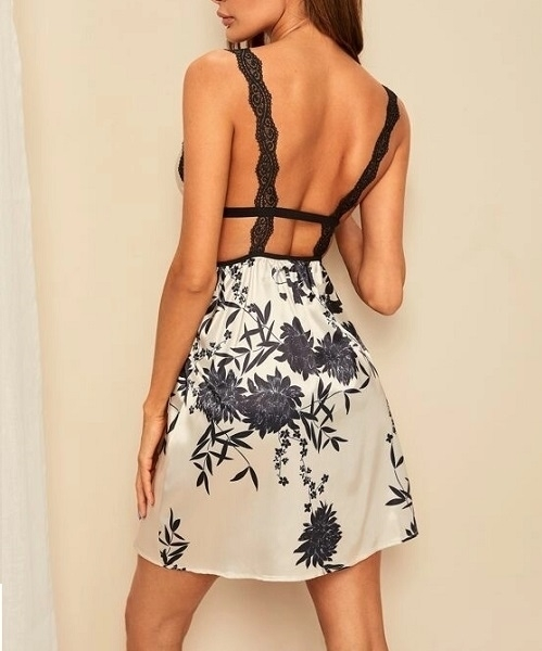 Picture of Floral Print Contrast Lace Satin Night Dress