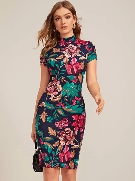 Picture of Mock-Neck Form Fitted Bodycon Floral Print Dress