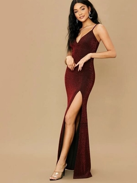 Picture of Glitter Split High Maxi Bodycon Formal Long Dress