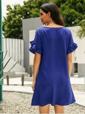 Picture of Solid Ruffle Trim Casual Dress