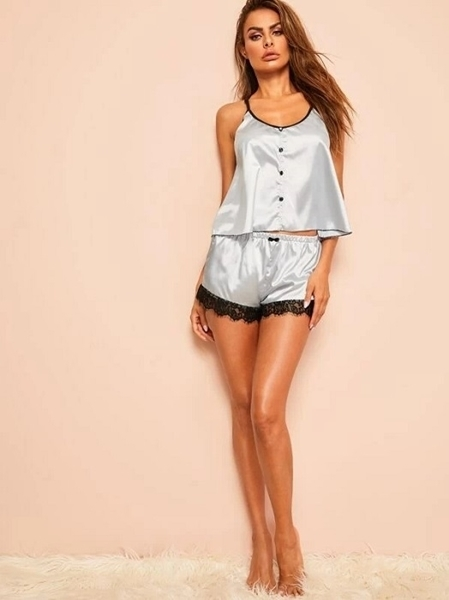 Picture of Contrast Lace Button Front Satin Cami PJ Set