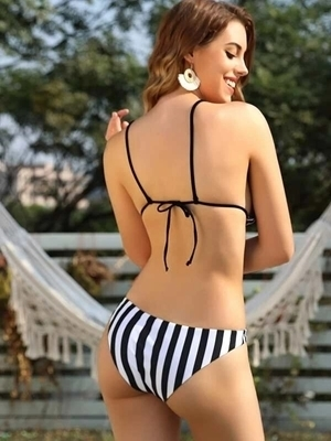 Picture of Striped Triangle Top With Cheeky Bikini Set