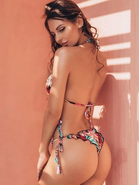 Picture of Tropical Random Print Halter Bikini Set