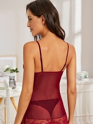 Picture of Contrast Lace Sheer Mesh Babydoll with Thong
