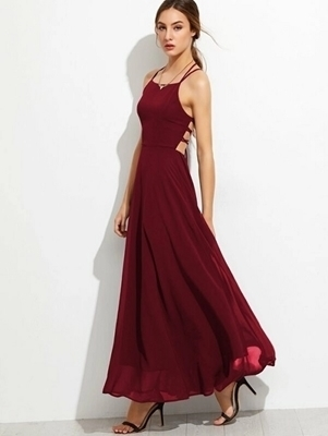 Picture of Lace Up Back Cami Formal Dress