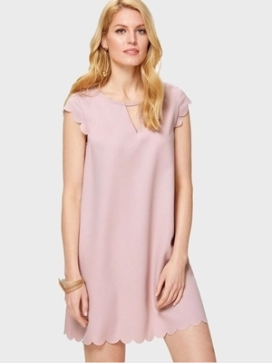 Picture of Scallop Trim V Cut Neck Dress