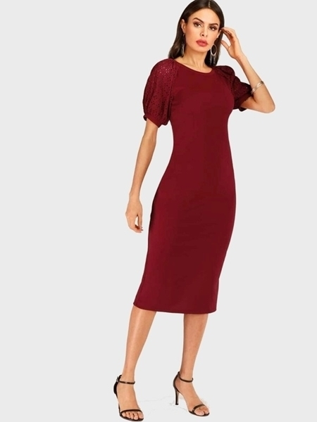 Picture of Contrast Eyelet Embroidery Sleeve Bodycon Midi Dress