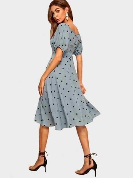Picture of Polka Dot Square Neck Women Dress