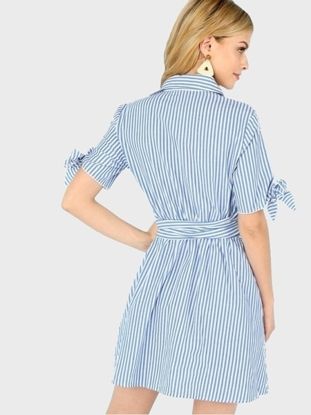 Picture of Button Up Knot Collar Striped Dress