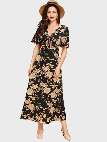 Picture of Ruffle Trim Knot Front Floral Dress