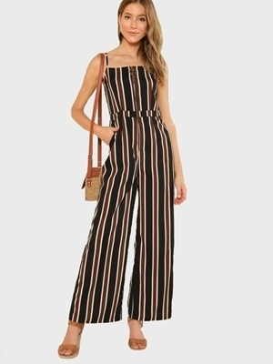 Picture of Striped O-Ring Zip Front Wide Leg Cami Jumpsuit