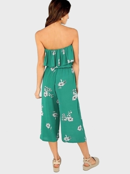 Picture of Floral Print Straight Leg Strapless Jumpsuit