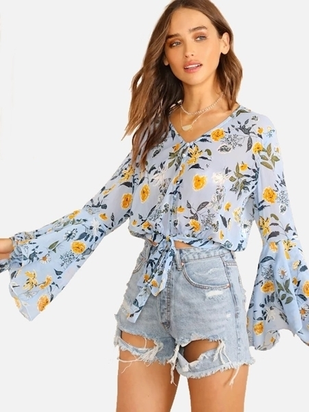 Picture of Floral Short Sheer Bell Sleeve Knot Front Blouse