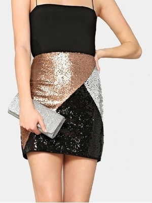 Picture of Cut-and-sew Sequin Bodycon Skirt