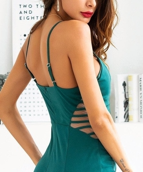 Picture of Mesh Panel Fishtail Hem Cami Occasion Dress 1