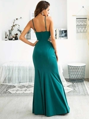 Picture of Contrast Mesh Panel Fishtail Hem Cami Dress