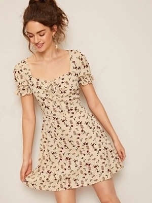 Picture of Ditsy Floral Tie Neck Ruffle Cuff Dress