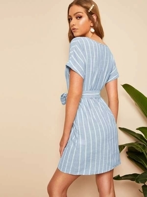 Picture of Cotton V Neck Vertical Striped Belted Dress