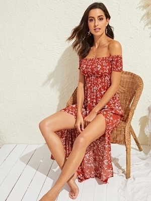 Picture of Floral Print Split Thigh Shirred Bardot Maxi Dress