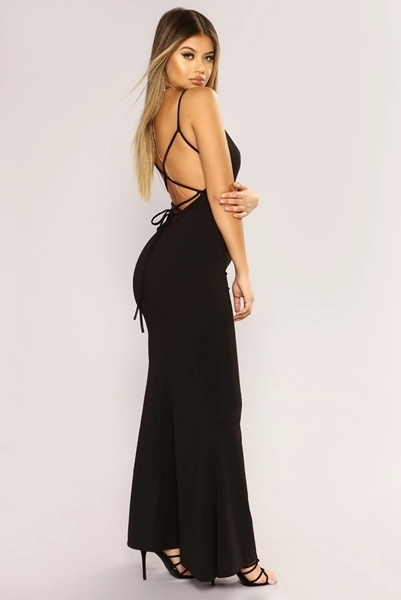 Picture of Cut out Lace Midriff Lace up Long Formal dress