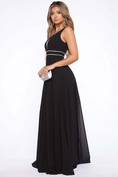 Picture of Rhinestone Waist Trim Maxi Evening Gown