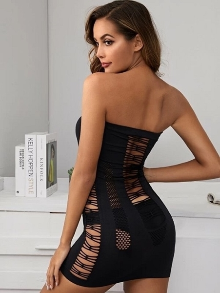 Picture of Criss Cross Bandeau Bodystocking Dress