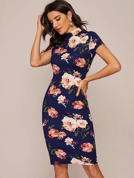 Picture of Mock-Neck Floral Print Midi Bodycon Pencil Dress