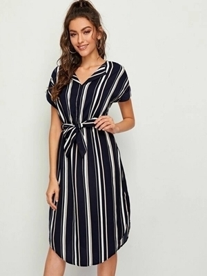 Picture of Curved Hem Stripe Belted Dress