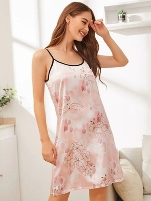 Picture of Floral Print Satin Cami Night Dress