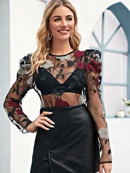 Picture of Embroidery Sheer Mesh Top