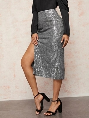 Picture of Sequin Split Thigh Elastic Waist Skirt
