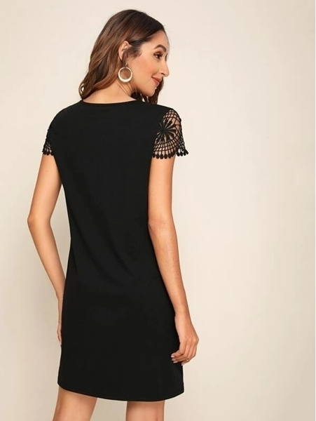 Picture of Guipure Lace Sleeve Keyhole Front Dress