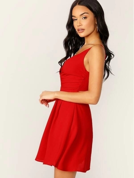 Picture of Plunging Twist Front Button Detail Dress