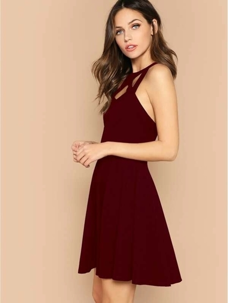 Picture of Cage Neck Open Back Fit & Flare Dress