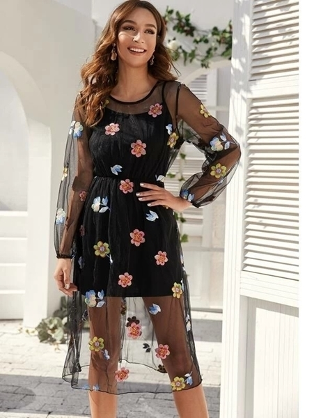 Picture of Embroidered Floral Mesh Dress With Cami Women Dress