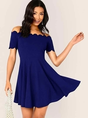 Picture of Off Shoulder Scallop Skater Dress
