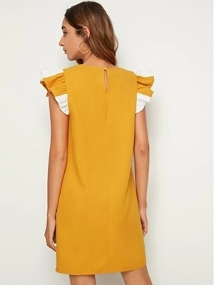 Picture of Colourblock Ruffle Sleeve Tunic Dress