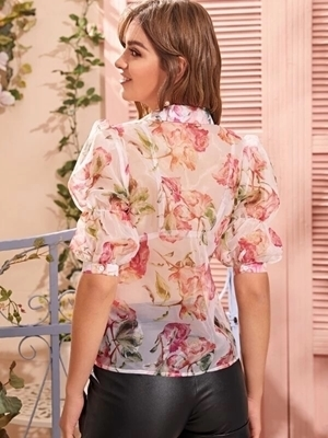 Picture of Floral Puff Sleeve Sheer Organza Blouse