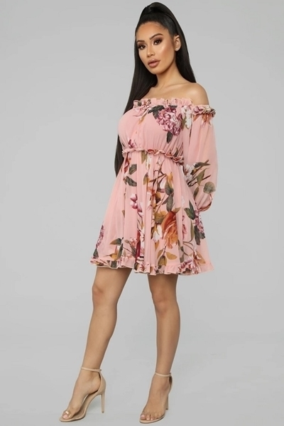 Picture of Floral Ruffle Off Shoulder Dress