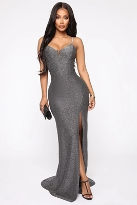 Picture of Rhinestone V Wired Side Slit Maxi Formal Dress