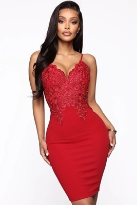 Picture of Embroidered Floral Bodice Lace Cocktail Dress