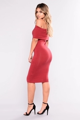 Picture of Off Shoulder Elegant Midi Dress