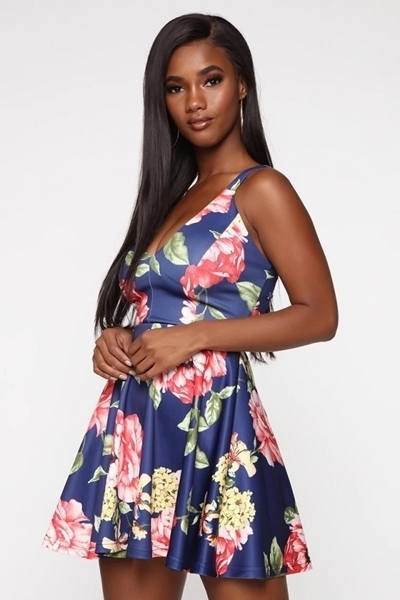 Picture of Lace Up Back Floral Dress