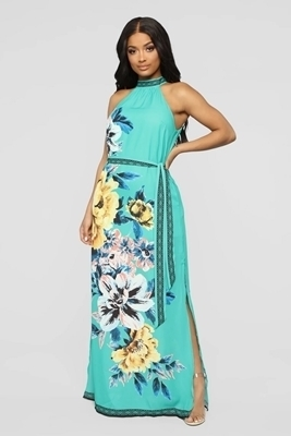 Picture of Floral Tie Waist Maxi Long Dress